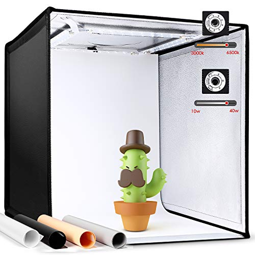 Amzdeal Fotostudio Lichtzelt 50x50x50 cm Tragbare Faltbare Studiobox mit 3000-65...