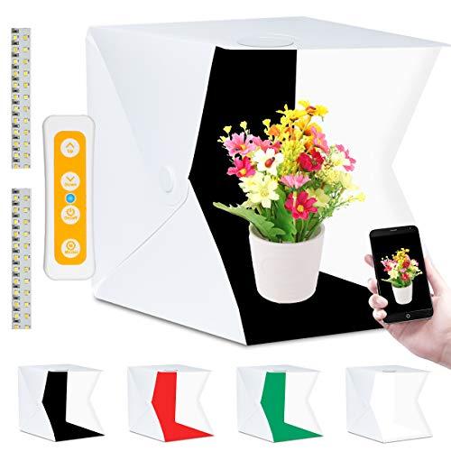 Fotobox, Fotozelt Lichtzelt 40x40 cm mit 3 Lichtfarben 140 LED Mini Mobiles trag...