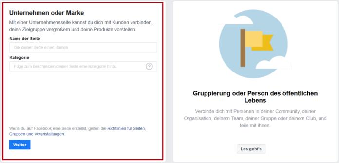Facebook-Seite erstellen - Startup - Gründer - Unternehmen oder Marke
