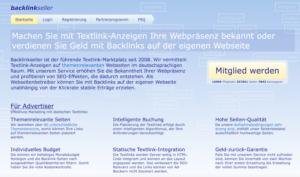 Backlinkseller Website - Geld verdienen mit Backlinks - Backlinks kaufen