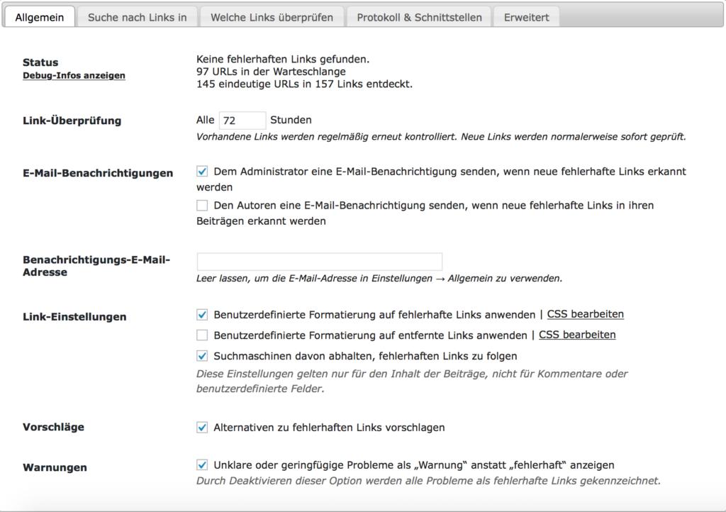 Broken-Link-Checker - Algemein - E-Mail-Benachrichtigung