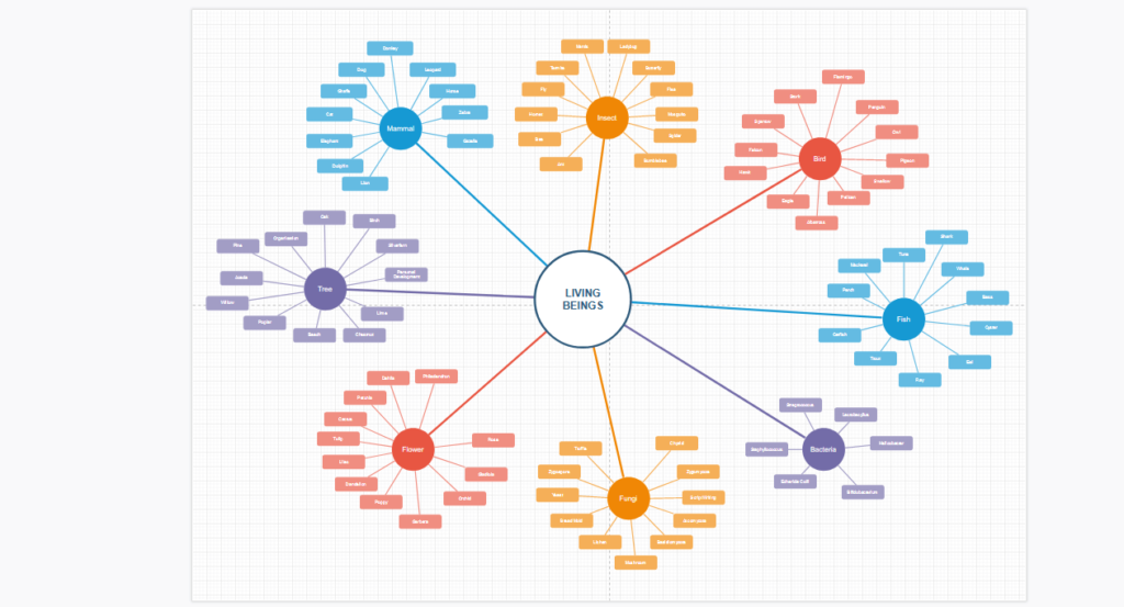 Eine Mindmap des Mind-Mapping-Tools Draw.io