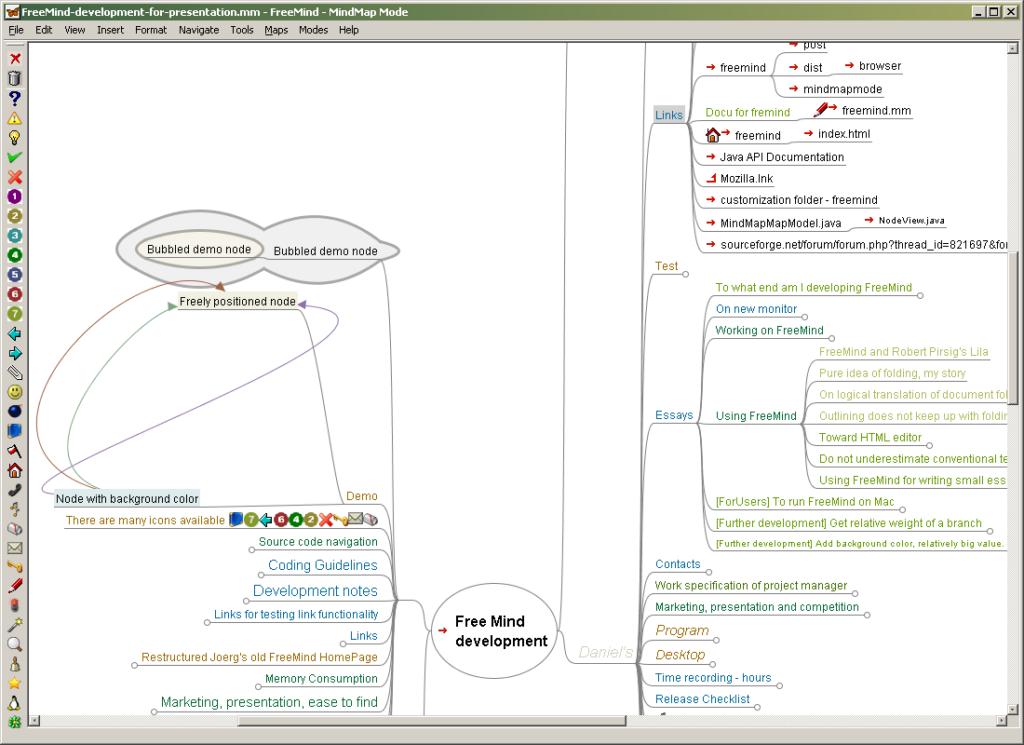 Eine Mindmap des Mind-Mapping-Tools Freemind