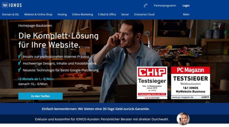IONOS Homepage-Baukasten/ Website-Builder für Startup-Gründer und Jungunternehmer