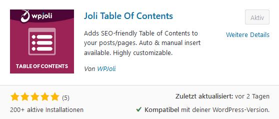 Joli Table of Contents Plugin