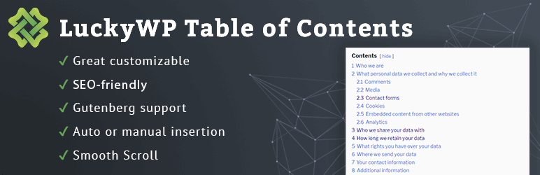 LuckyWP - Table of Contents - Inhaltsverzeichnis Plugin für WordPress