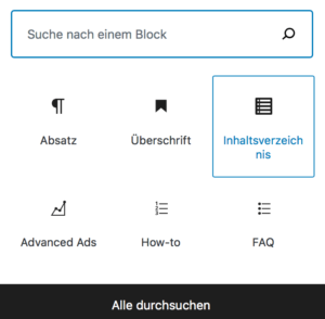 LuckyWP Table of Contents im Gutenberg-Editor