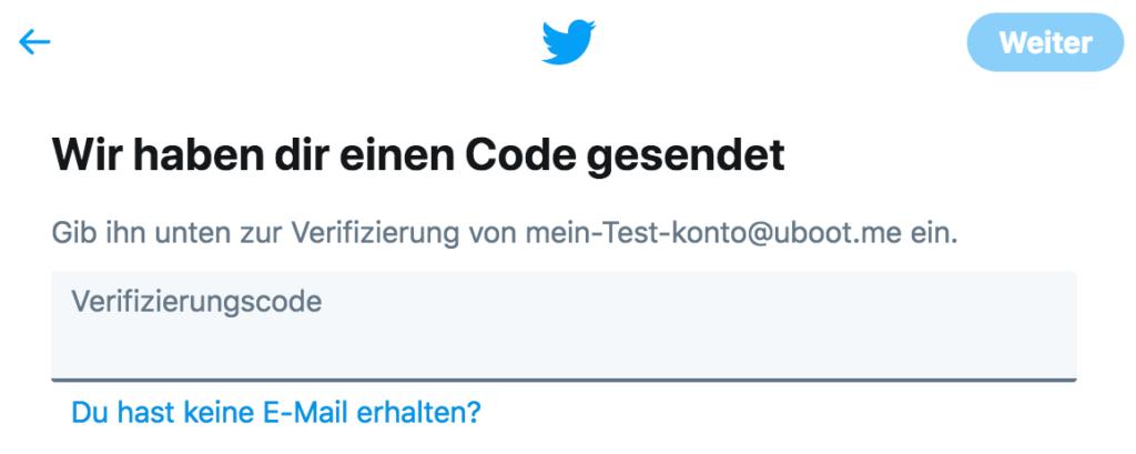 Twitter Anleitung - Tutorial - Code - Verifizierung E-Mail SMS