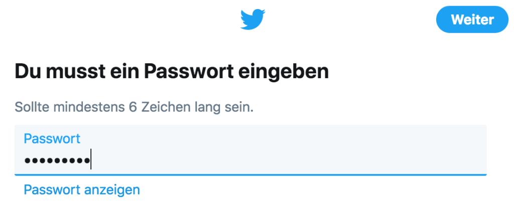 Twitter-Anleitung - Tutorial - Verifizierungscode und Passwort eingeben