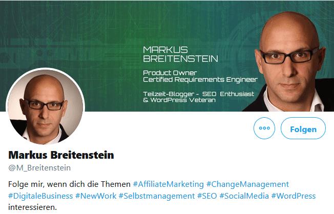 Twitter-Profil Biografie mit Call-To-Action