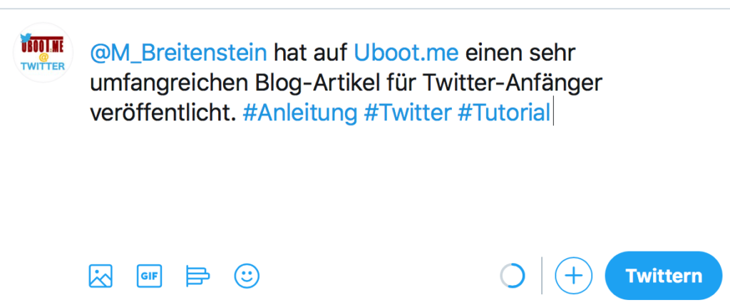 Twitter Reply mit Hashtags