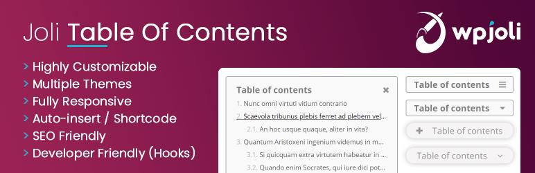 WPjoli - Joli - Table Of Contents - TOC - Inhaltsverzeichnis Plugin für WordPress kostenlos und kostenpflichtig