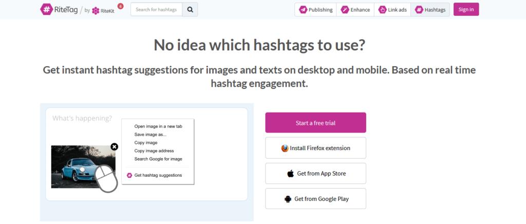 ritetag - Analyse von Hashtags auf Twitter und Instagram